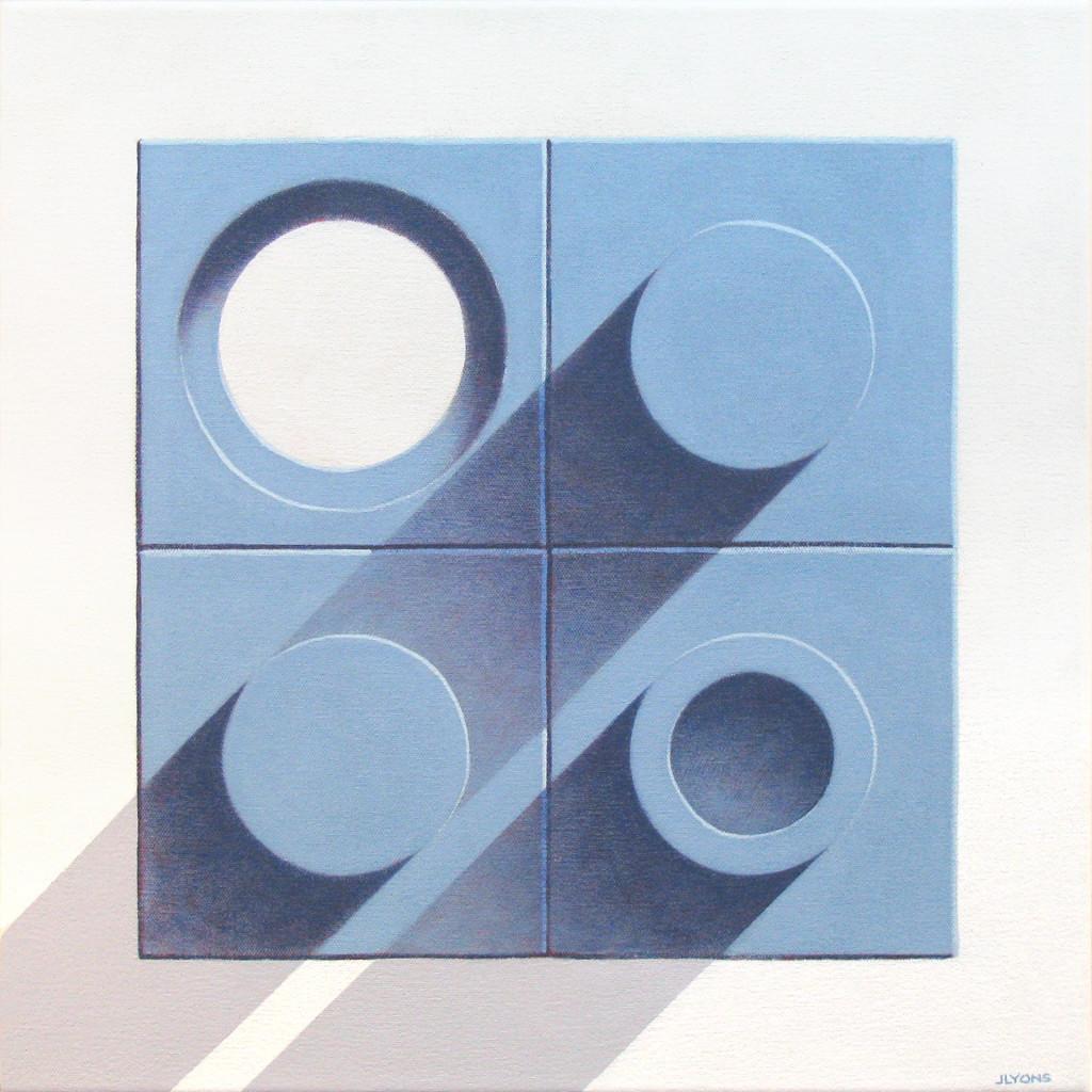 """Blue Tiles 3 18"""" x 18"""" Acrylic on canvas"""