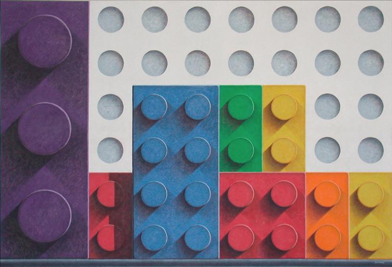 "Rainbow Blocks 48"" x 70 1/2"" Acrylic on canvas"
