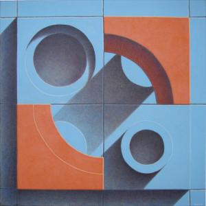 "Orange Blue Tiles 24"" x 24"" Acrylic on canvas"