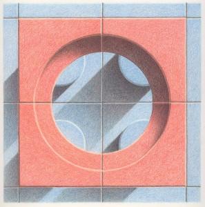 Blue Orange Tiles Progression 1 Colored pencil drawing on bristol paper