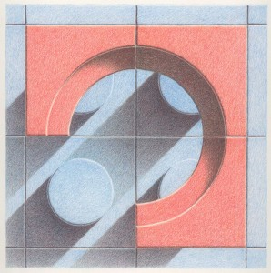 Blue Orange Tiles Progression 2 Colored pencil drawing on bristol paper