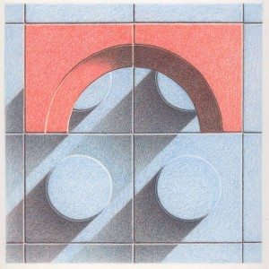 Blue Orange Tiles Progression 3 Colored pencil drawing on bristol paper