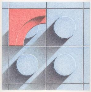 Blue Orange Tiles Progression 4 Colored pencil drawing on bristol paper