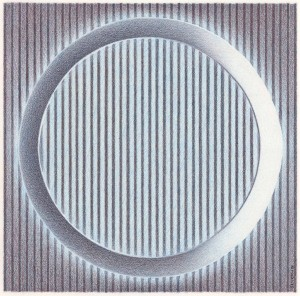 Blue Ring Over Stripes Colored pencil drawing on bristol paper.
